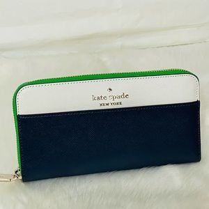 NWT Kate Spade Green Staci Colorblock Large Continental wallet